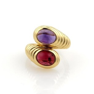 BVLGARI Bulgari Bvlgari 5ct Tourmaline Amethyst 18k Yellow Gold Bypass Ring