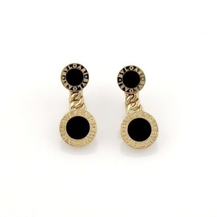 BVLGARI Bulgari Bvlgari Onyx Circle Station 18k Yellow Gold Drop Earrings