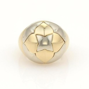 BVLGARI Bulgari Bvlgari Piramide 18k Yellow White Gold Floral Dome Shape Ring