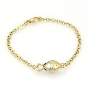 BVLGARI Bulgari Bvlgari Solid 18k Yellow White Gold Fish Chain Link Bracelet