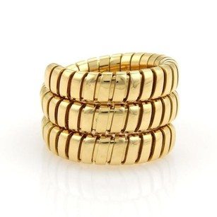 BVLGARI Bulgari Bvlgari Tubogas 18k Yellow Gold 15mm Flex Wrap Band Ring