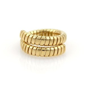 BVLGARI Bulgari Bvlgari Tubogas 18k Yellow Gold Flexible Bypass Band Ring 8.5-9