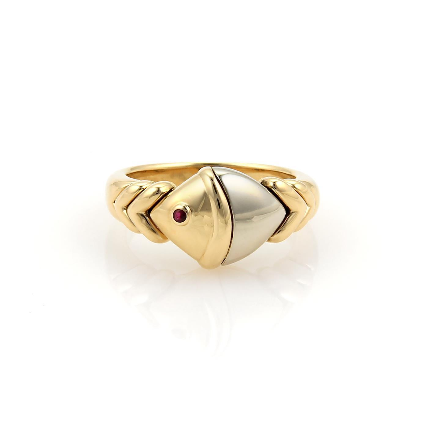 bvlgari bulgari naturalia ruby 18k two tone gold fish ring size 625