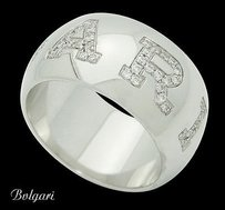BVLGARI Bvlgari Bulgari 18k White Gold 0.38 Tcw Diamond Band Ring R722