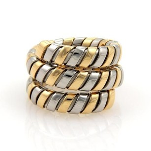 BVLGARI Bvlgari Bulgari Tubogas 18k Yellow Gold Ssteel Wide Wrap Band Ring