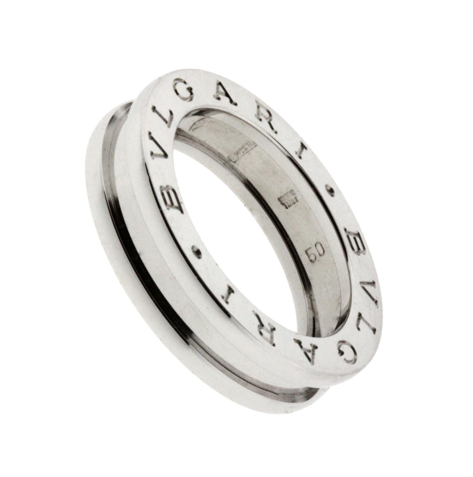 bvlgari bvlgari bzero1 band ring in 18k white gold ref ans852423 size 375
