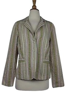 CAbi Cabi Womens Multi-color Striped Blazer Long Sleeve 100 Cotton