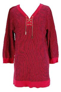 Cable & Gauge Checkered Womens Cotton Blend Sweater