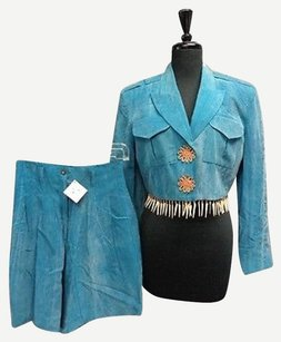 Cache Cache Teal Short Suit W Beaded Plastic Fringe Detail Rayon Sma4116