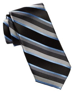 Calvin Klein Calvin Klein Blocked Stripe Silk Tie Black