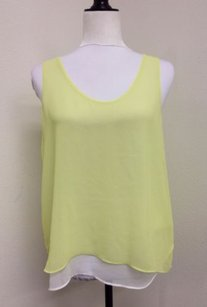 Calvin Klein Klein Sheer Lined With White Flaw Top Yellow