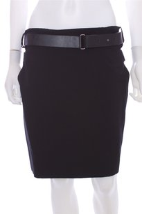 Calvin Klein Collection Dark Wool Lined Solid Leather Belted Skirt Black
