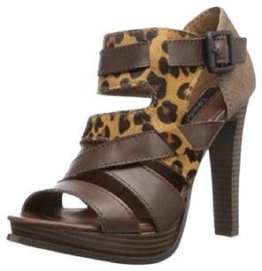 Calvin Klein Pony Hair Platform Strappy Brown Leopard Platforms