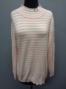 Calvin Klein Striped Rayon Blend Casual Mockneck Sma9013 Sweater