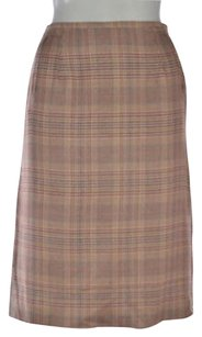 Calypso St. Barth Christiane Celle Womens White Plaid A Line Wool Below Knee Skirt Multi-Color