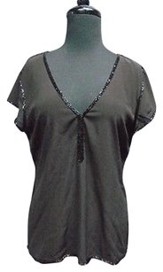 Calypso St. Barth St Beaded Accent V Neck Lightweight 3384a Top Black