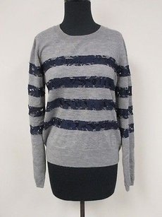 Candela Gray Navy Blue Lace Sweater