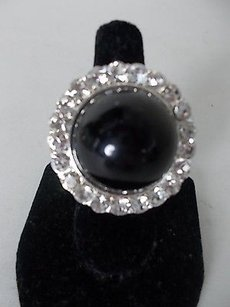 Cära Couture Jewelry Cara York Black Stone Crystal Cocktail Ring