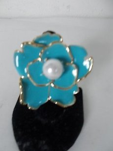 Cära Couture Jewelry Cara York Turq Enamel Faux Pearl Flower Ring