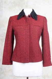Carlisle Carlisle Womens Red Black Tweed Basic Jacket 0 Wool Casual Blazer