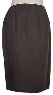 Carlisle Womens Solid Linen Pencil Straight Skirt Brown