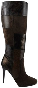 Carlos Falchi Womens Designer Knee High 9 Suede New Dark Brown/ Bronze Boots