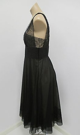 Carmen Marc Valvo Black Netted Dress With Netting Straps Fitted Bodice cheap