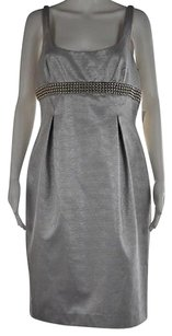 Carmen Marc Valvo Womens Metallic Knee Length Sheath Dress