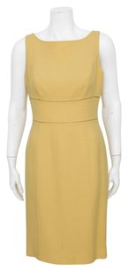 Carmen Marc Valvo short dress Yellow Boat Neck Embroidery Fitted Knee Length on Tradesy