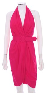 Carmen Marc Valvo Silk Halter Petal Lined Backless Belted Dress