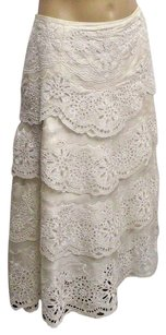 Carmen Marc Valvo With Layers Of Eyelit Skirt Ivory