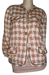 Carole Little Multi-colored Checked Tweed beige maroon Blazer