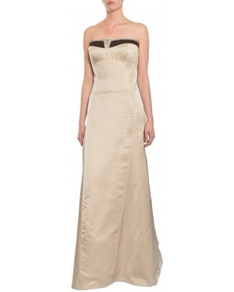 Carolina Herrera Woman Strapless Embellished Two-tone Silk Gown Off-white Size 8 Carolina Herrera ch4G1L1e