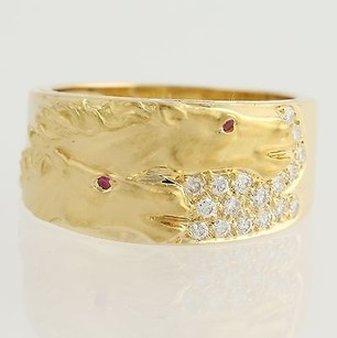 Carrera y Carrera Carrera Y Carrera Diamond Ruby Equestrian Band - 18k Yellow Gold Horse Ring