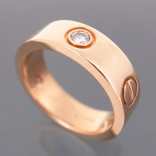 Cartier 18k Rose Gold With *3* Diamonds 'love' Ring Wedding Band. Size 6 (or 53 European). Made In France