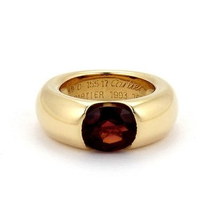 Cartier 18k Yellow Gold Cartier 3ctw Garnet 8.5mm Wide Band Ring - 49