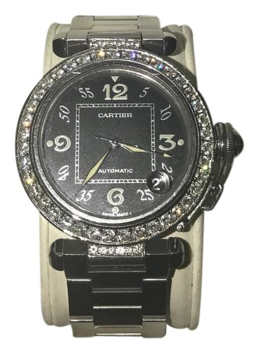CARTIER Black Faced Pasha Watch With Diamond Bezel