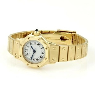 Cartier Carier Santos 18k Ygold Automatic Sapphire Crystal Octagon Ladies Watch Wbox