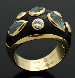 Cartier Cartier Diamond Carved Aquamarine Black Enamel 18k Yellow Gold Dome Ring R267