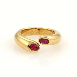 Cartier Cartier Ellipse Deux Tetes Croisees Rubies 18k Ygold Bypass Ring Cert.