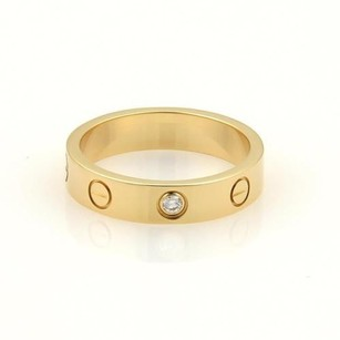 Cartier Cartier Mini Love 1 Diamond 18k Ygold 4mm Band Ring Eu 50-us 5.25 Wcert