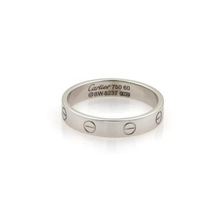 Cartier Cartier Mini Love 18k White Gold 4mm Band Ring - Eu 60-us