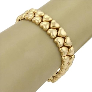 Cartier Cartier 18k Yellow Gold Double Row Solid Heart Link Bracelet 7 Long