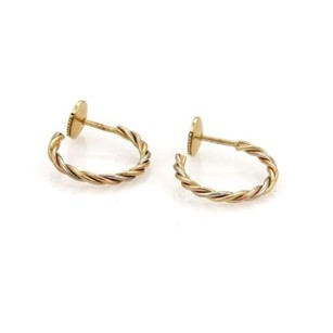 Cartier Cartier 18k Tri-color Gold Twisted Wire Hoop Earrings
