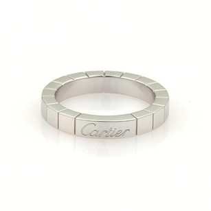 Cartier Cartier Lanier Logo 18k White Gold 3mm Band Ring Eu 48-us