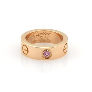 Cartier Cartier Love 1 Pink Sapphire 18k Rose Gold 5.5mm Band Ring Eu 47-us