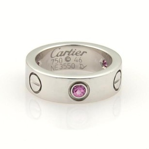 Cartier Cartier Love Pink Sapphire 18k Wgold 5.5mm Band Ring 46-us