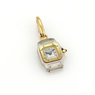 Cartier Cartier Paris Tank Watch Charm Pendant 18k Two Tone Gold Sapphire Crown