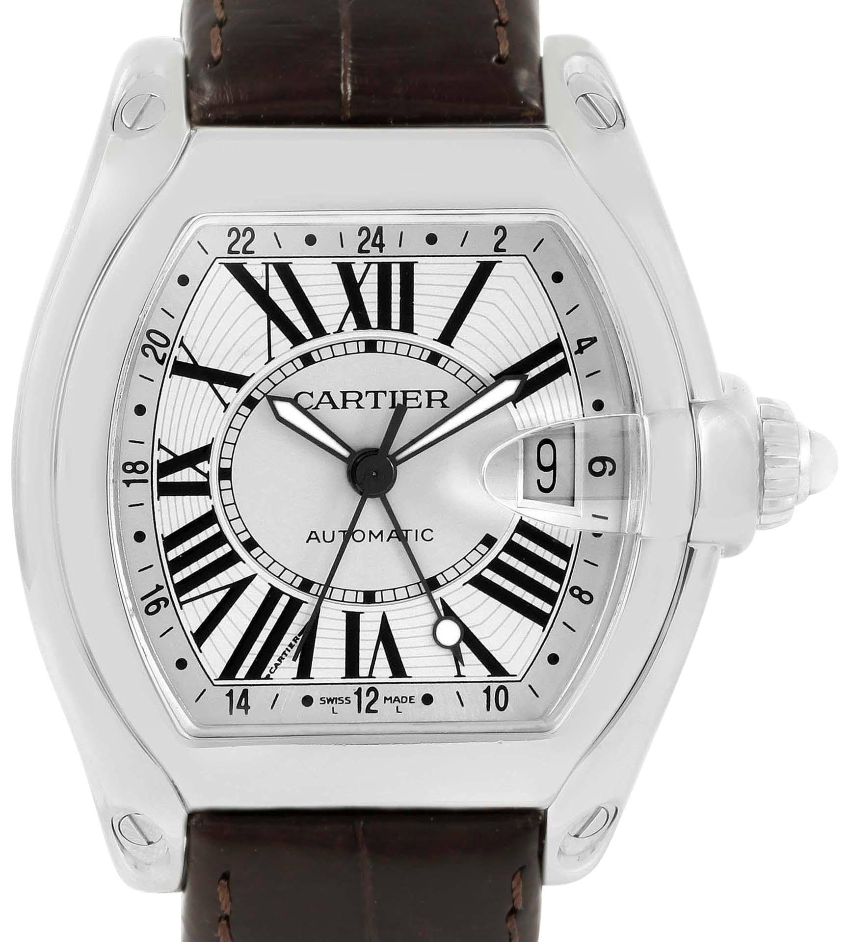 cartier silver roadster gmt stainless steel mens