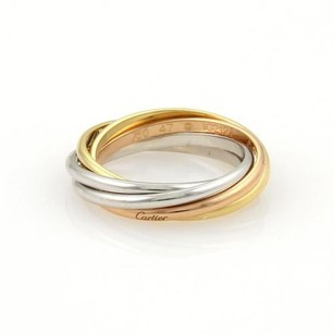 Cartier Cartier Trinity 18k Tri-color Gold Rolling Band Ring 4.25 Cert